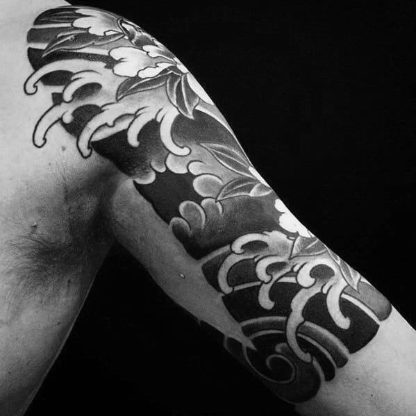 Man With Quarter Sleeve Traditional Japanese Water Wave Tattoo Design