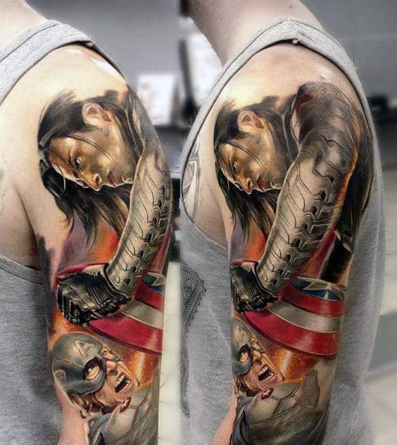 Man With Realistic 3d Captain America Half Sleeve Arm Tattoo