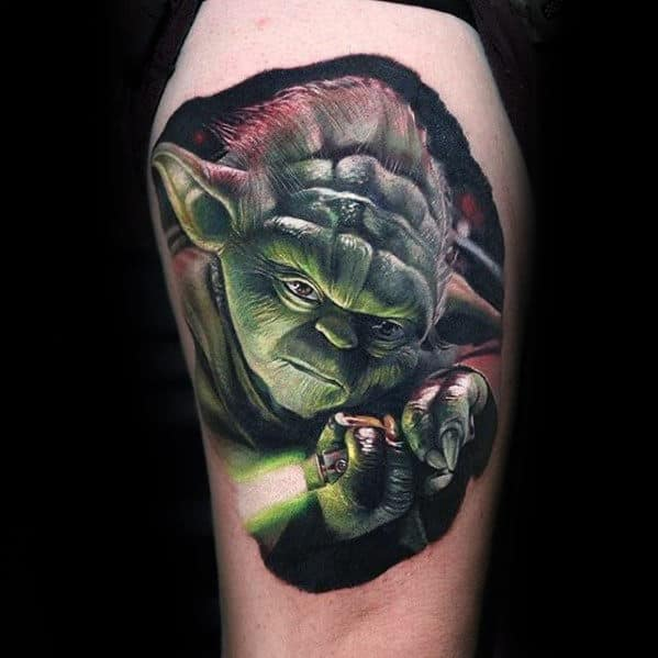 7c8ee5335 Man With Realistic 3d Yoda Glowing Green Light Saber Thigh Tattoos
