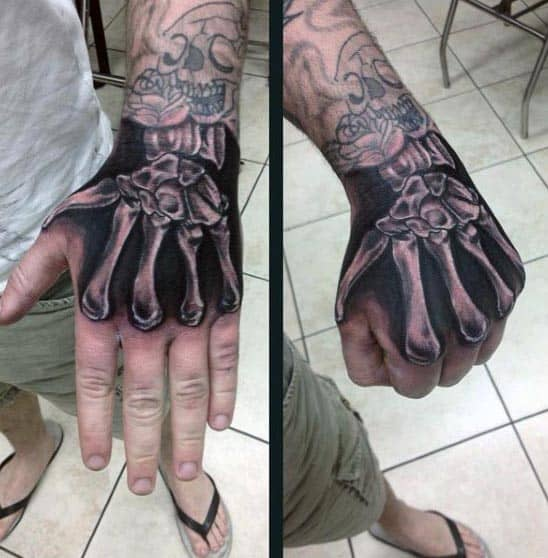 Man With Realistic Bone Hand Tattoo X Ray Design