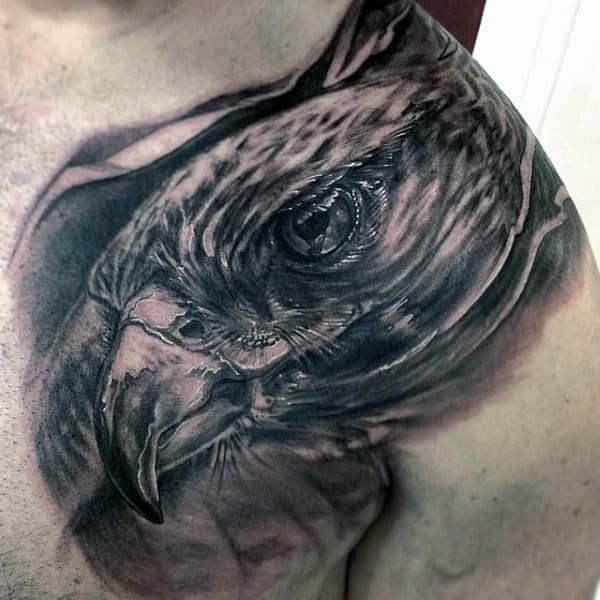 Man With Realistic Hawk Head Tattoo On Shoulder