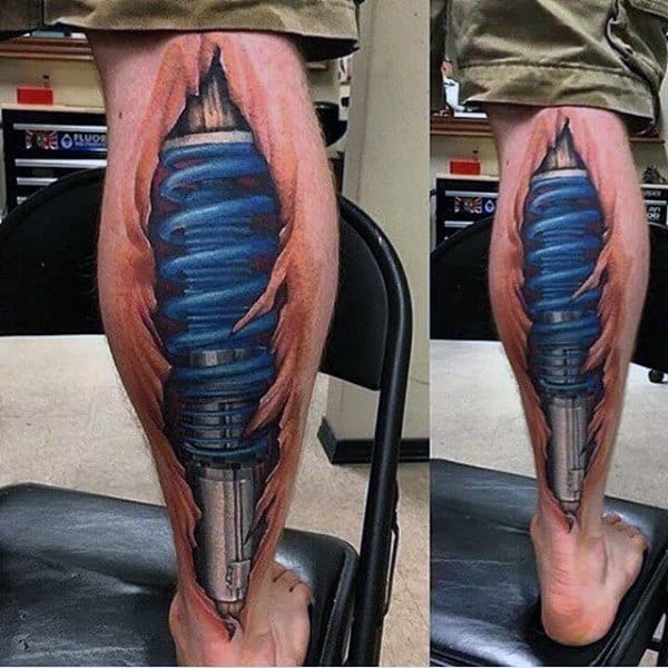Man With Realistic Ripped Skin Motocross 3d Tattoo On Leg