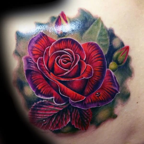 Man With Realistic Rose Shoulder Tattoo
