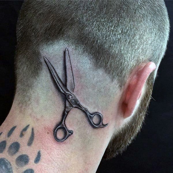 Man With Realistic Scissors Head Tattoo