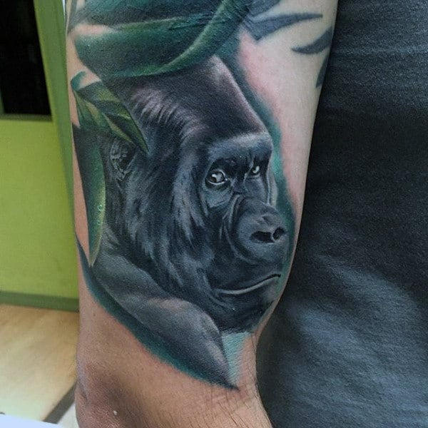 Man With Realistic Shaded Ape Animal Lower Arm Tattoo