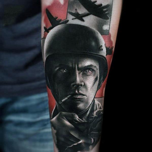 Man With Realistic Solider Army Forearm Tattoo