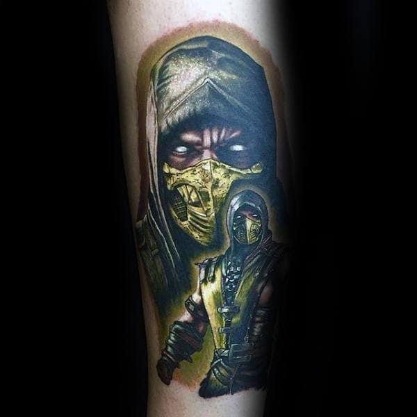 Man With Realistic Yellow Ink Mortal Kombat Tattoo Of Scorpion