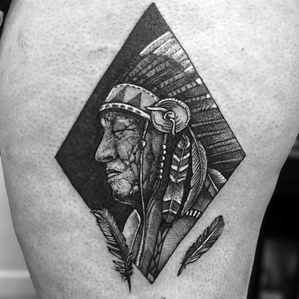 Man With Red Indian Portrait And Feather Tattoo On Upper Arms