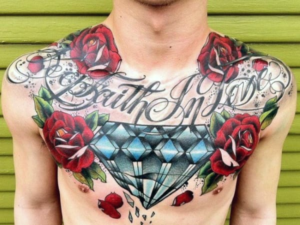Man With Red Roses And Large Broken Diamond Chest Tattoo