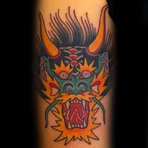 Man With Retro Traditional Dragon Arm Tattoo