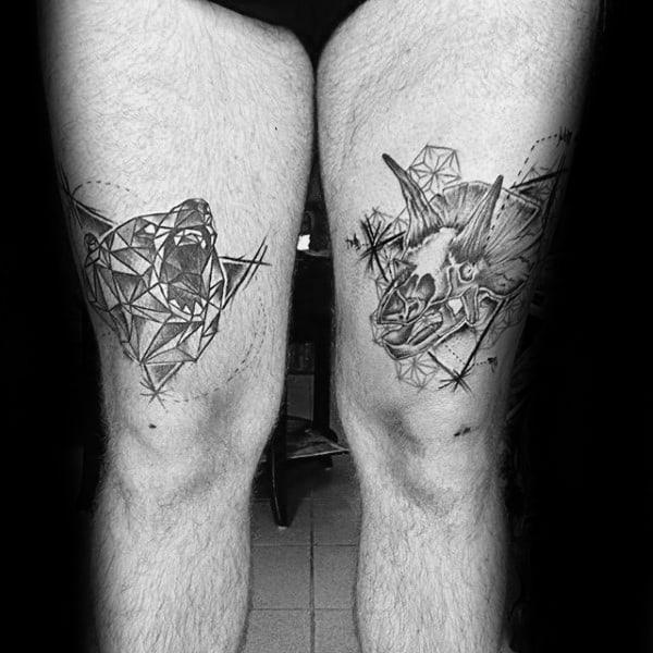 Man With Roaring Geometric Bear Thigh Tattoo