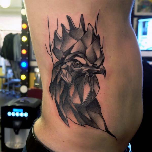 Man With Rooster Tattoo On Side In Modern Style With Black Ink