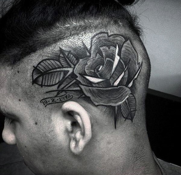 Man With Rose Flower Head Tattoo