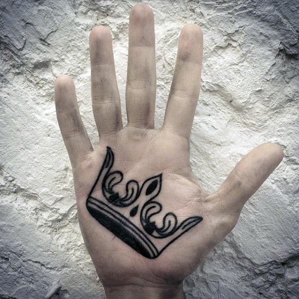 100 palm tattoo designs for men inner hand ink ideas for Royal crown tattoo