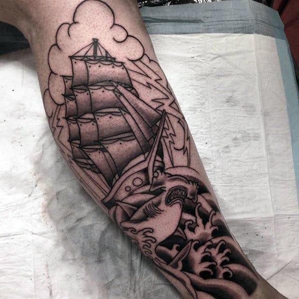 Man With Sailor Jerry Style Hammerhead Shark Leg Tattoo