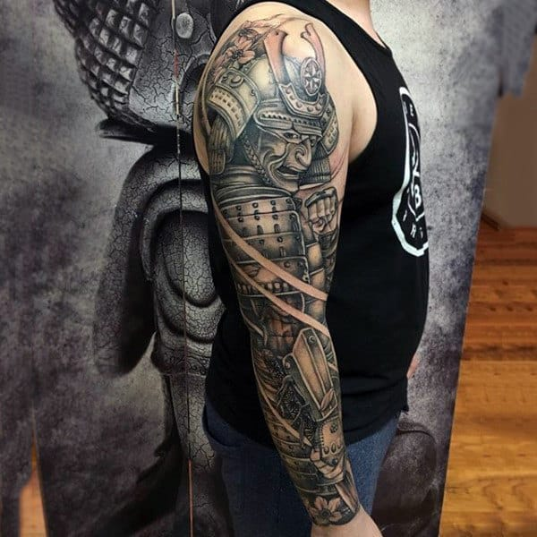 Man With Samurai In Full Armor Full Sleeve Shaded Tattoo