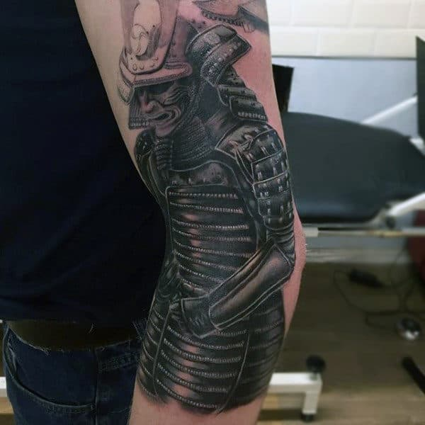 Man With Samurai In Full Armor Traditional Forearm Tattoo