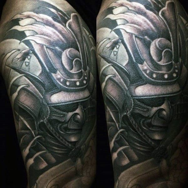 Man With Samurai Mask Shaded Half Sleeve Tattoo