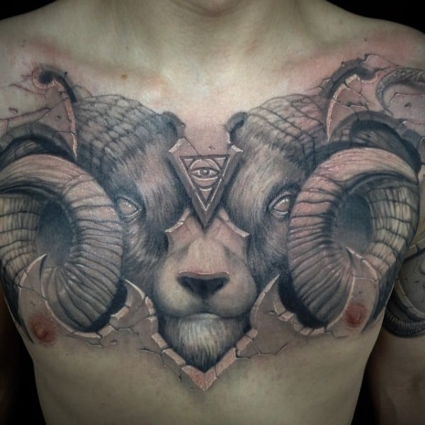 Man With Satanic Goat 3d Stone Chest Tattoo