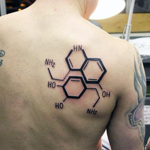 Man With Serotonin And Dopamine Chemistry Back Tattoo