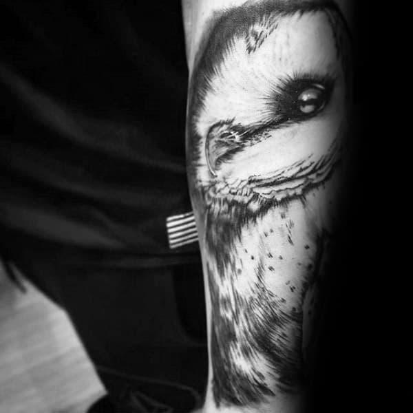 Man With Shaded Barn Owl Forearm Tattoo Sleeve Design