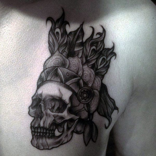 Man With Shaded Indian Skull Tattoo On Upper Chest