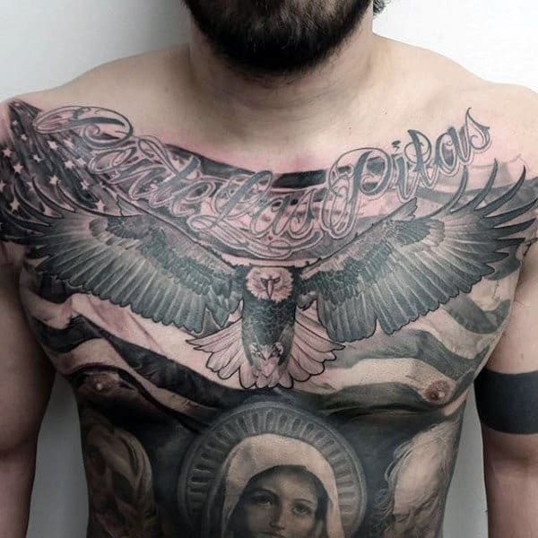 Man With Shaded Patriotic Eagle Chest Tattoos