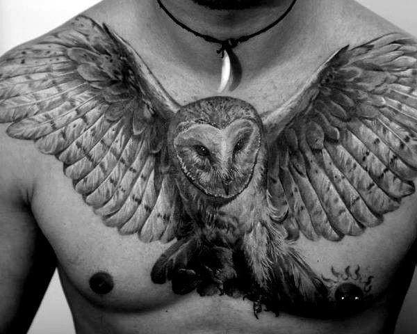 Man With Shaded Upper Chest Owl Tattoo Design