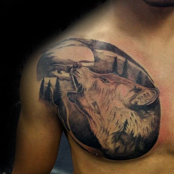 Man With Shaded Wolf Howling Upwards At The Moon Tattoo On Chest
