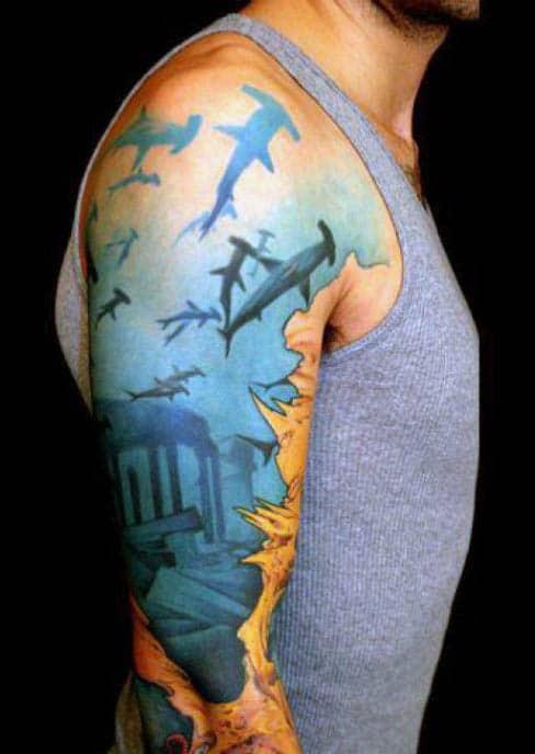 Man With Shark Tattoo Design Sleeve