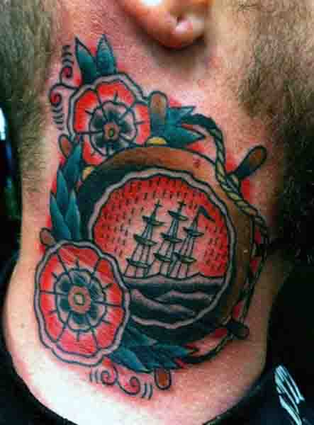 Man With Ship Wheel Anchor Tattoo On Neck Sailor Jerry Style