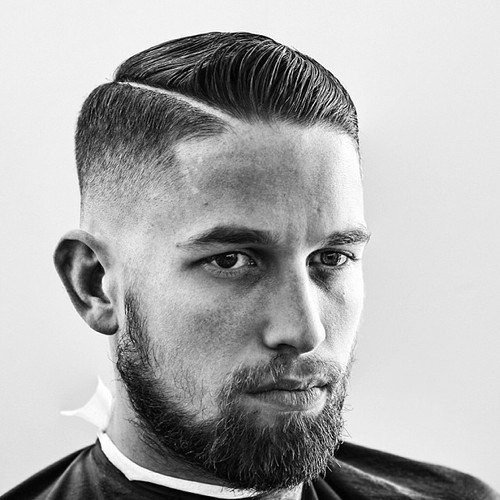 Man With Short Hair Comb Over And Hard Part Side