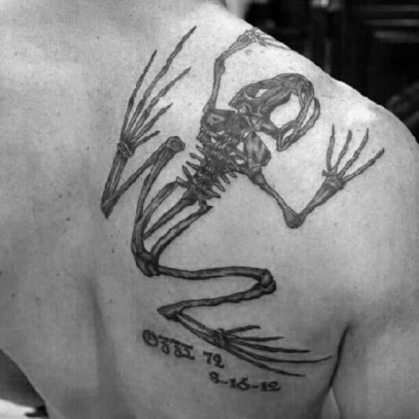 Man With Shoulder Tattoo Of Navy Seal Bone Frog Design