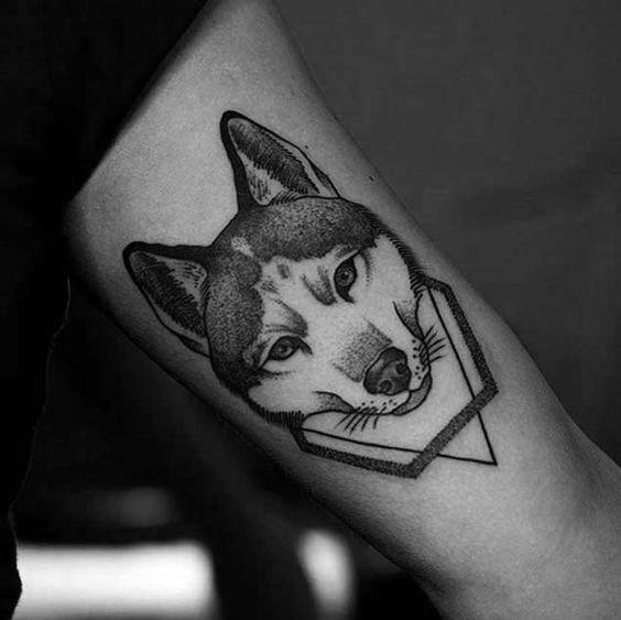 Man With Siberian Husky Tattoo Design