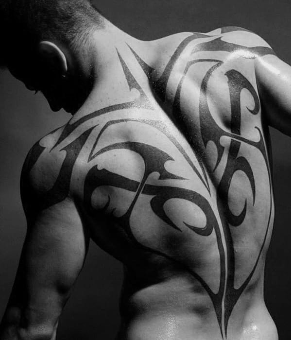 Man With Sick Traditional Black Ink Tribal Full Black Tattoo