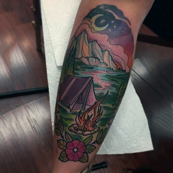 Man With Simple Brightly Colored Campsite Tattoo Half Sleeve