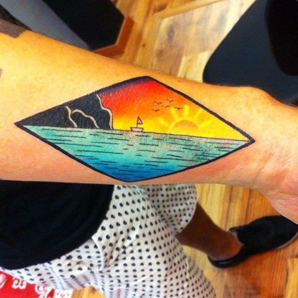 Man With Simplistic Boat At Sunset Forearm Tattoo