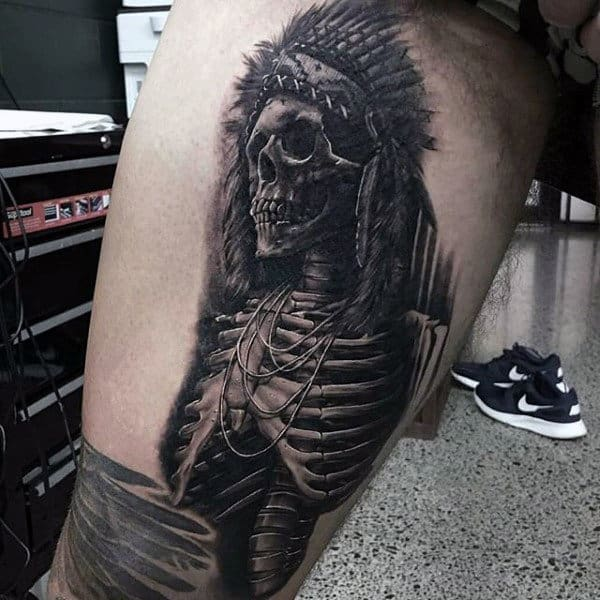 Man With Skeleton Indian Black Ink Thigh Tattoo