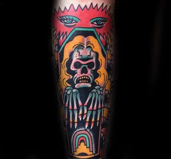 Man With Skin Tattoo Of Skeleton Colorful Abstract Design