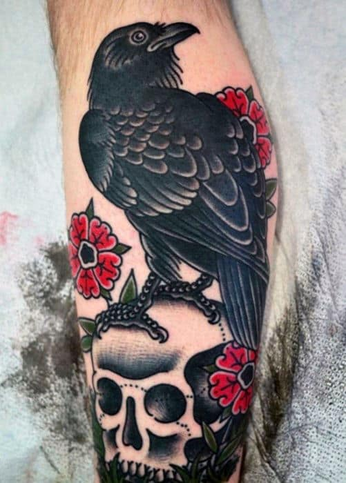 Man With Skull And Black Traditional Crow Leg Tattoo