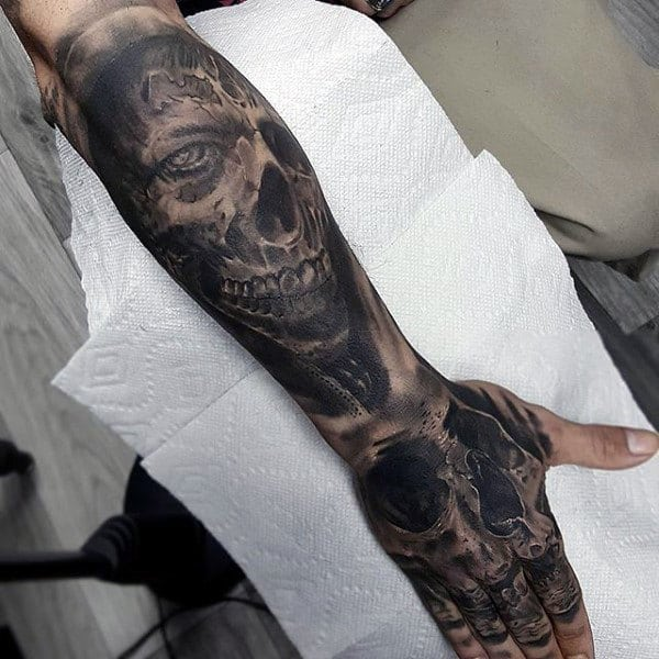 Man With Skull And Zombies Lower Forearm Tattoo Sleeves