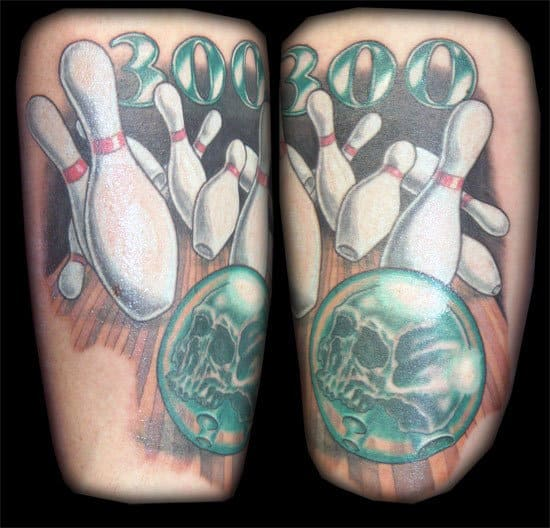 Man With Skull Faced Bowling Ball Knocking Pins 300 Arm Tattoo