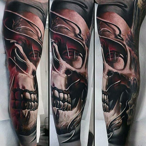 Man With Skull Modern Tattoo Sleeve