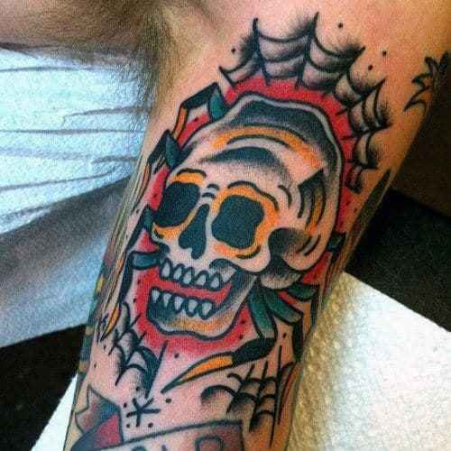 Man With Skull Traditional Spider Inner Arm Bicep Tattoos