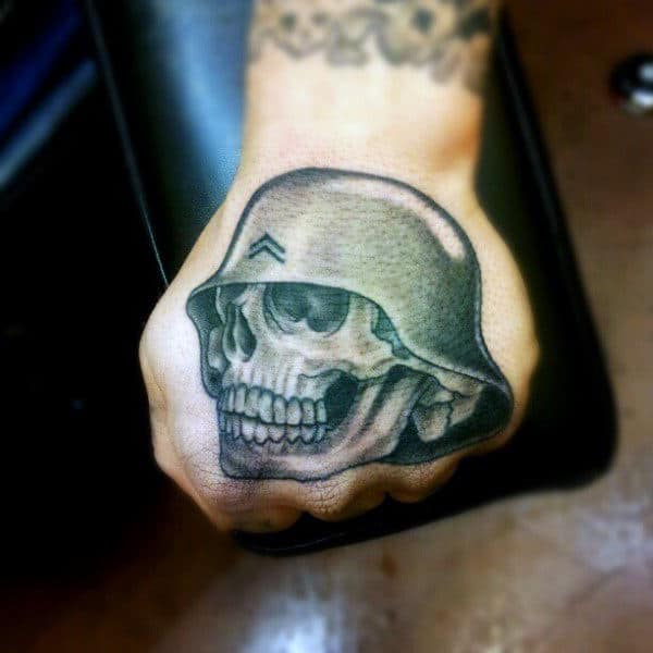 Man With Skull Wearing Army Helmet Tattoo On Hands