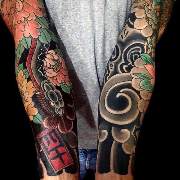Man With Sleeve Tattoos Of Peony Flowers Japanese Design