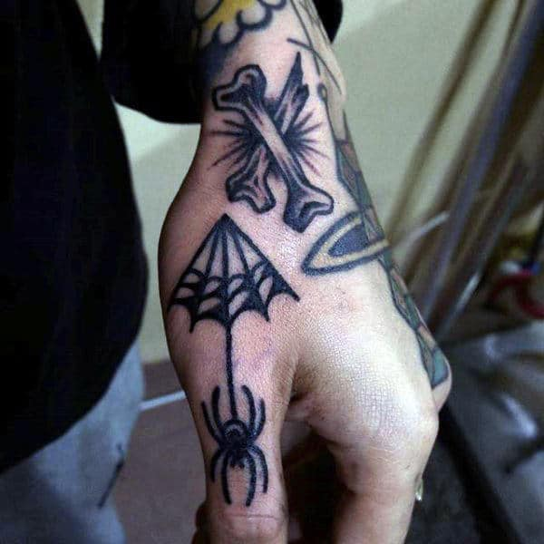 Man With Small Spider On Parachute Tattoo On Back Hand