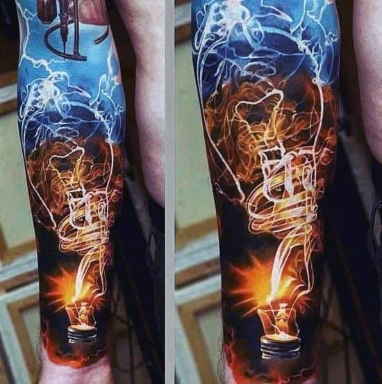 Man With Smoking Lightbulb Forearm Half Sleeve Tattoo