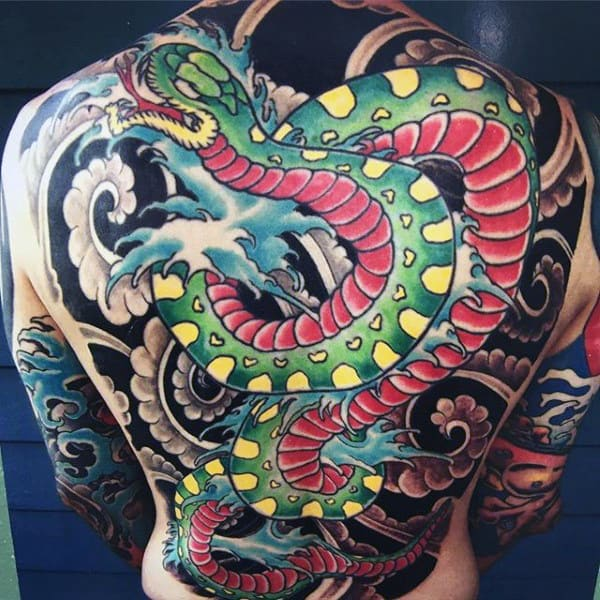 Man With Snake Tattoo Full Back