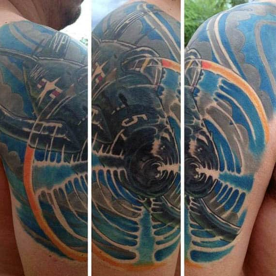 Man With Soaring Plane In The Sky Tattoo